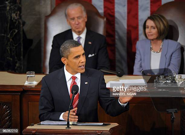 US President Barack Obama delivers his first State of the Union address January 27 2010 at the US Capitol in Washington DC Obama declared that the...