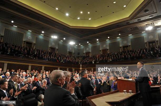 S President Barack Obama delivers his first State of the Union speech to a joint session of the US Congress on Capitol Hill January 27 2010l in...