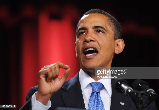 US President Barack Obama delivers his muchanticipated message to the Muslim world from the auditorium in the Cairo University campus in Cairo during...
