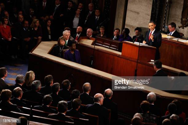 S President Barack Obama delivers his State of the Union adddress on January 24 2012 in Washington DC Obama said the focal point his speech is the...