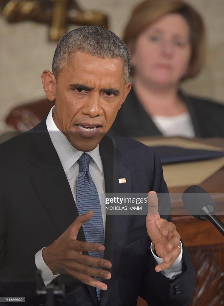 US-POLITICS-STATE OF THE UNION-OBAMA : News Photo