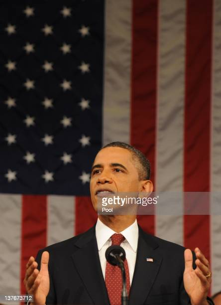 President Barack Obama delivers his State of the Union address before a joint session of Congress on Capitol Hill January 24, 2012 in Washington, DC....