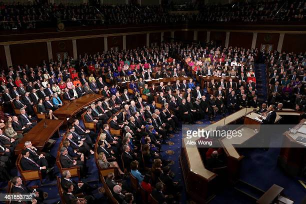 S President Barack Obama delivers his State of the Union speech before members of Congress in the House chamber of the US Capitol January 20 2015 in...