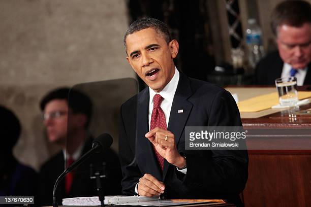 S President Barack Obama delivers his State of the Union speech on January 24 2012 in Washington DC Obama said the focal point his speech is the...