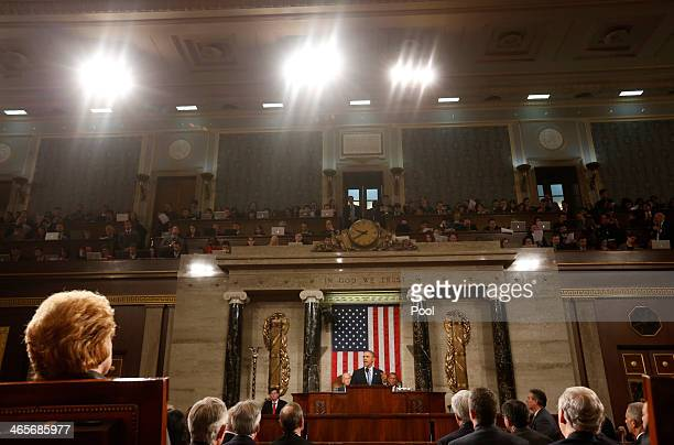 S President Barack Obama delivers his State of the Union speech on Capitol Hill on January 28 2014 in Washington DC In his fifth State of the Union...