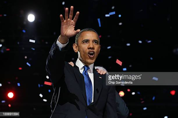 S President Barack Obama delivers his victory speech after being reelected for a second term at McCormick Place November 6 2012 in Chicago Illinois...