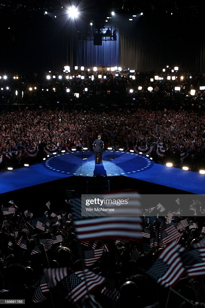 U.S. President Barack Obama delivers his victory speech after being reelected for a second term at McCormick Place November 6, 2012 in Chicago, Illinois. Obama won reelection against Republican candidate, former Massachusetts Governor Mitt Romney.