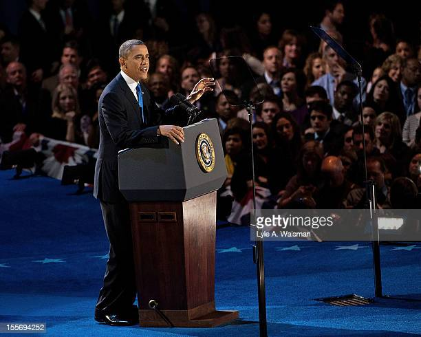 S President Barack Obama delivers his victory speech after being reelected for a second term at McCormick Place on November 6 2012 in Chicago Illinois
