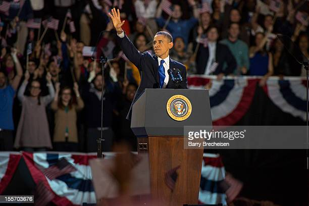 President Barack Obama delivers his victory speech after being reelected for a second term at McCormick Place on November 6 2012 in Chicago Illinois