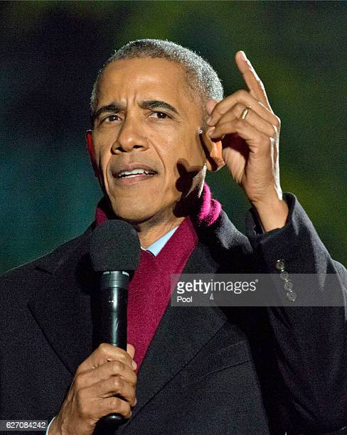 S President Barack Obama delivers opening remarks during the National Christmas Tree Lighting on the Ellipse December 1 2016 in Washington DC This...