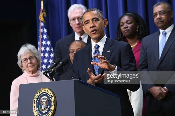 S President Barack Obama delivers remarks about extending tax cuts for middle class people during an event in the Eisenhower Executive Office...