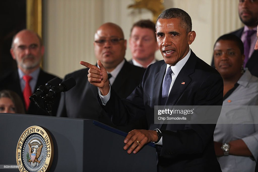 U.S. President Barack Obama delivers remarks about his efforts to increase federal gun control in the East Room of the White House January 5, 2016 in Washington, DC. Without approval from Congress, Obama is sidestepping the legislative process with executive actions to expand background checks for some firearm purchases and step up federal enforcement of existing gun laws.