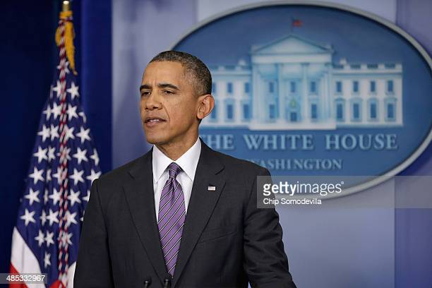 S President Barack Obama delivers remarks about Obamacare and the ongoing tensions in Ukraine in the Brady Press Briefing Room at the White House...