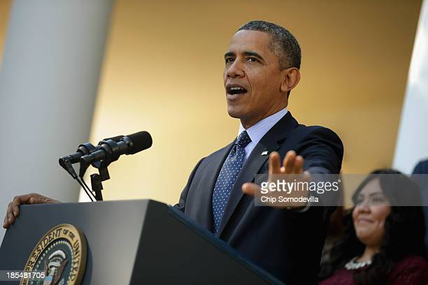 S President Barack Obama delivers remarks about the errorplagued launch of the Affordable Care Act's online enrollment website in the Rose Garden of...