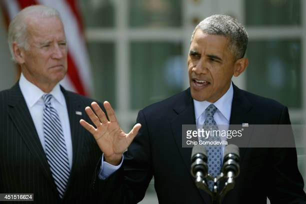 S President Barack Obama delivers remarks about the faltering immigration reform agenda to the news media with Vice President Joe Biden in the Rose...