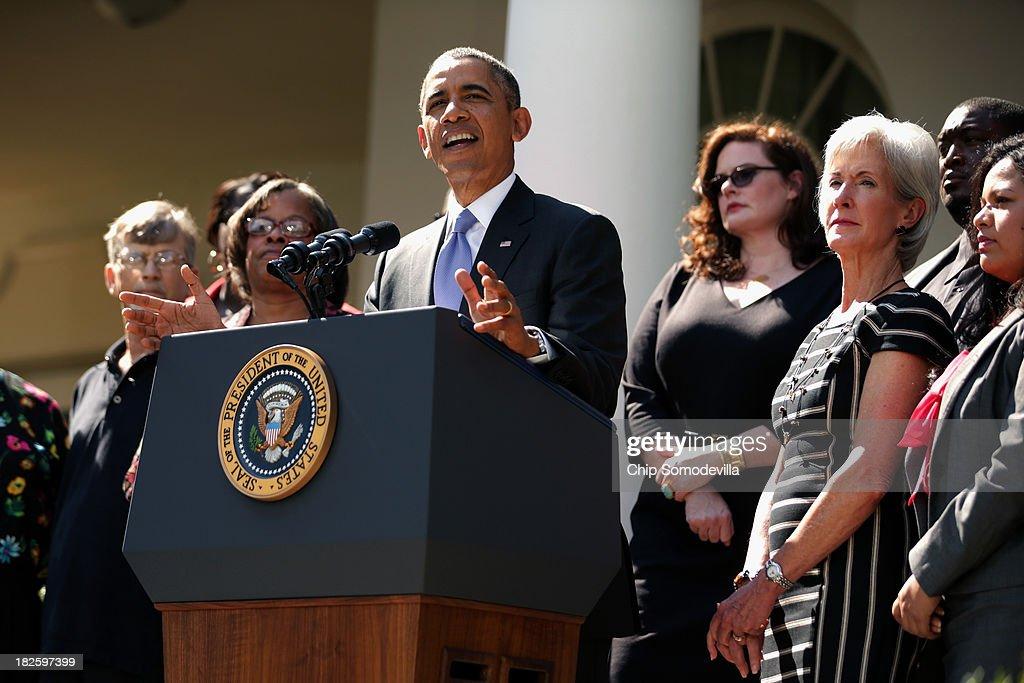 President Obama Speaks On The Government Shutdown In The Rose Garden