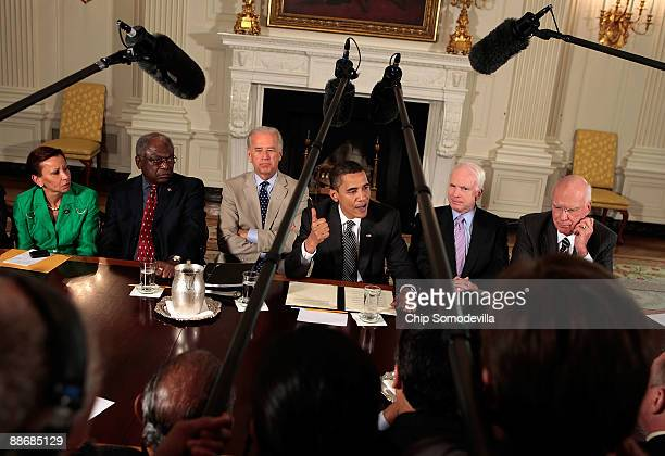 S President Barack Obama delivers remarks after a meeting with a bipartisan group of Senators and members of Congress including Rep Nydia Velazquez...