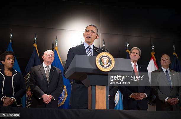 US President Barack Obama delivers remarks after a national security team meeting at the National Counterterrorism Center in McLean Virginia December...