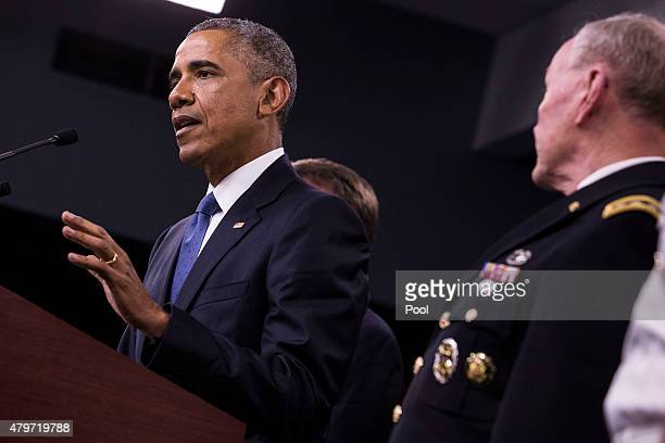 US President Barack Obama delivers remarks after meeting with members of his national security team concerning ISIS at the Pentagon July 6 2015 in...