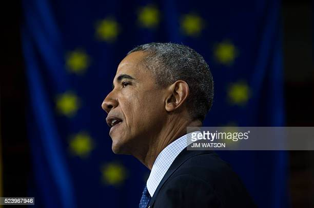 US President Barack Obama delivers remarks after touring the Hannover Messe Trade Fair in Hanover Germany April 25 2016 USA is partner country of the...