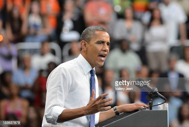 S President Barack Obama delivers remarks at a grassroots event at Bank United Center on October 11 2012 in Miami Florida