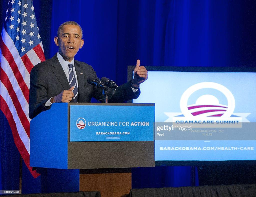 Obama Attends OFA Obamacare Summit : News Photo