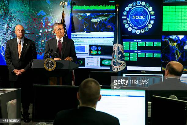 S President Barack Obama delivers remarks at the National Cybersecurity and Communications Integration Center on January 13 2015 in Arlington...