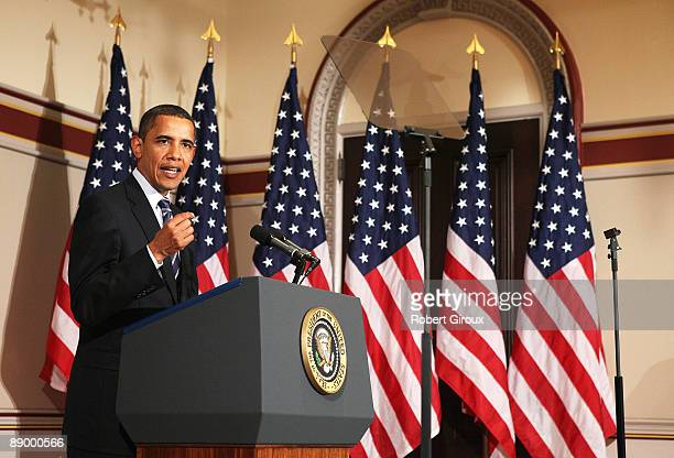 US President Barack Obama delivers remarks at the Urban and Metropolitan Policy Roundtable on July 13 2009 in Washington DC The policy involves the...