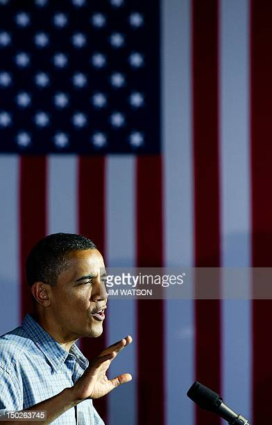 US President Barack Obama delivers remarks during a campaign event at Herman Park in Boone Iowa on August 13 2012 AFP PHOTO/Jim WATSON