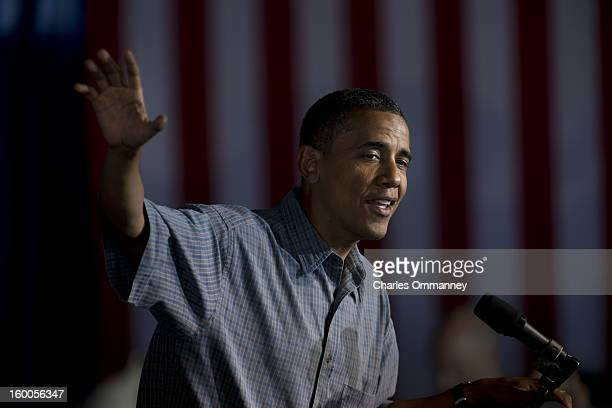 President Barack Obama delivers remarks during a campaign event at Herman Park in Boone Iowa on August 13 2012