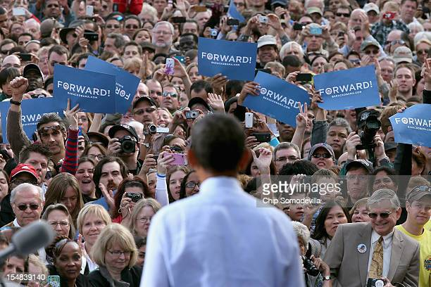 S President Barack Obama delivers remarks during a campaign rally at Elm Street Middle School October 27 2012 in Nashua New Hampshire With ten days...