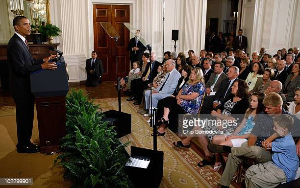 S President Barack Obama delivers remarks during an event to mark the 90day anniversary of the signing of the Affordable Care Act June 22 2010 in...