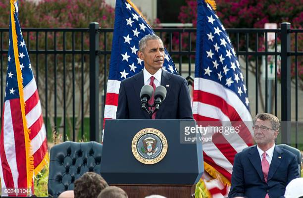 President Barack Obama delivers remarks during an observance ceremony at the Pentagon Memorial on the 15th anniversary of the 9/11 terror attacks on...
