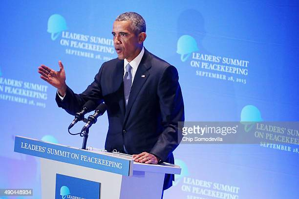 US President Barack Obama delivers remarks during the Leaders' Summit on Peacekeeping during the 70th annual UN General Assembly at the UN...
