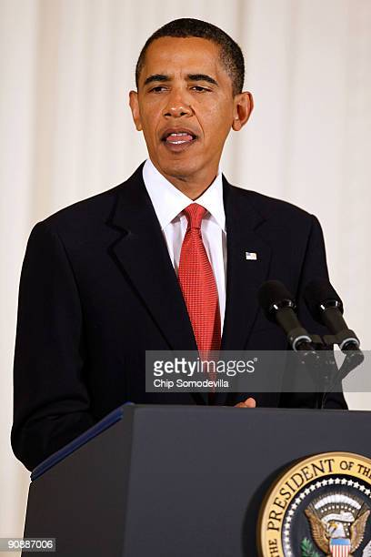 S President Barack Obama delivers remarks during the Medal of Honor ceremony for US Army Sergeant First Class Jared C Monti in the East Room of the...