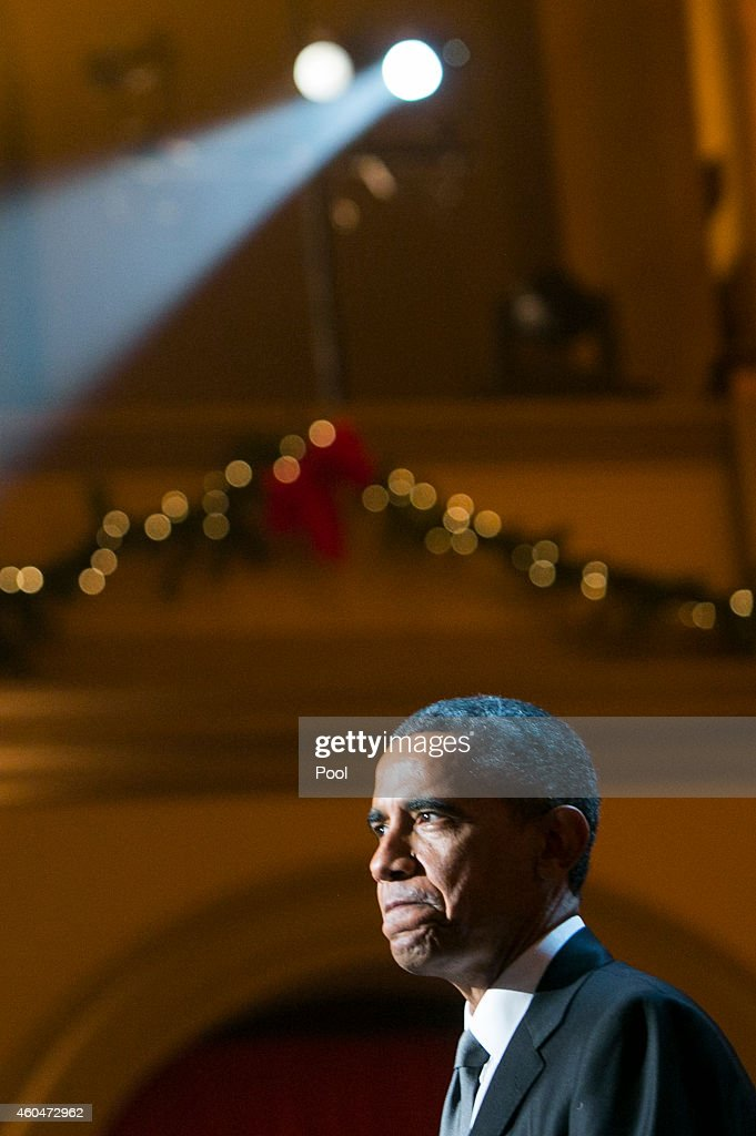 U.S. President Barack Obama delivers remarks during the taping of TNT's 'Christmas in Washington' program on December 14, 2014 in Washington, DC. Proceeds from the concert will go to Children's National Medical Center.