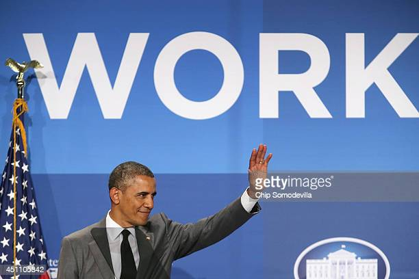 S President Barack Obama delivers remarks during the White House Summit On Working Families at the Omni Shoreham hotel June 23 2014 in Washington DC...