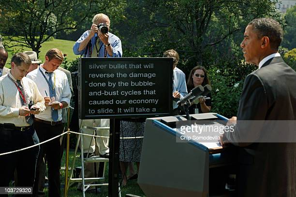 S President Barack Obama delivers remarks from a teleprompter to the press after his daily economic briefing in the Rose Garden at the White House...