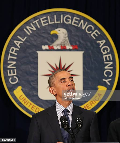 S President Barack Obama delivers remarks from the headquarters of the Central Intelligence Agency after meeting with his National Security Council...