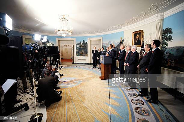 President Barack Obama delivers remarks on financial reform as Chair of the Council of Economic Advisors Christina Romer US Treasury Secretary...