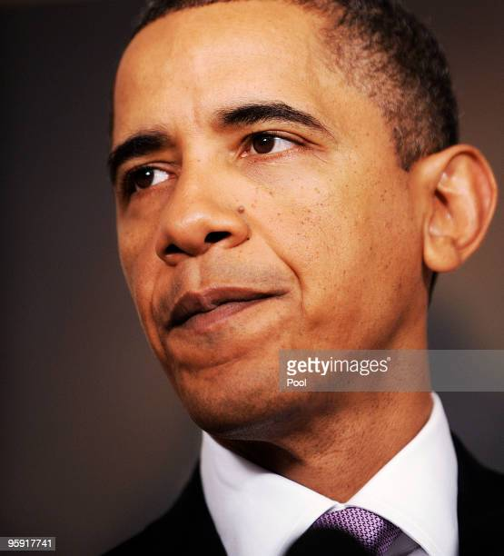 President Barack Obama delivers remarks on financial reform in the Diplomatic Reception Room on January 21 2010 in Washington DC Obama announced...