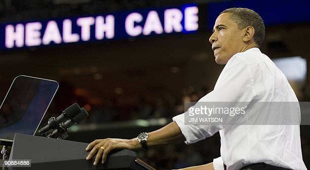 US President Barack Obama delivers remarks on health care reform at the University of Maryland in College Park MD September 17 2009 AFP PHOTO/Jim...