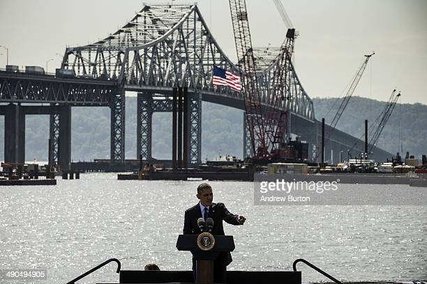 S President Barack Obama delivers remarks on infrastructure in the United Sates with the Tappan Zee Bridge and construction for a new bridge as a...