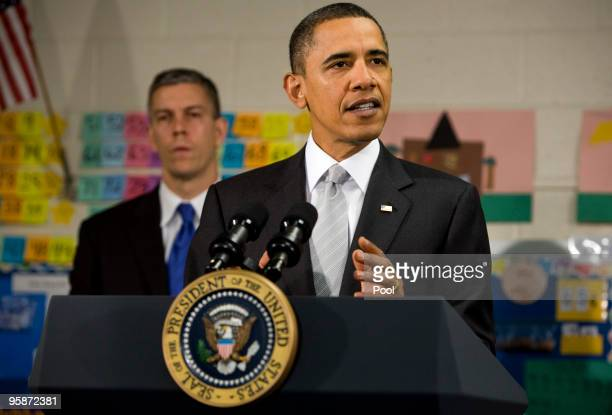 US President Barack Obama delivers remarks on the Race To The Top program at the Graham Road Elementary School January 19 2010 in Falls Church...