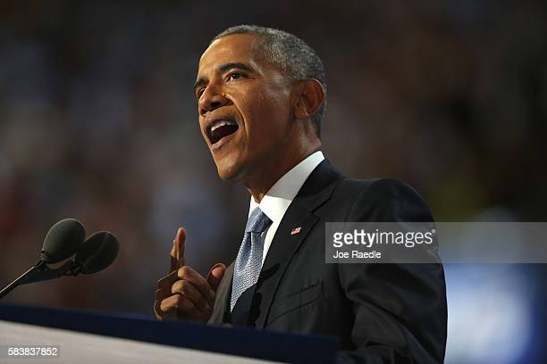 President Barack Obama delivers remarks on the third day of the Democratic National Convention at the Wells Fargo Center July 27 2016 in Philadelphia...