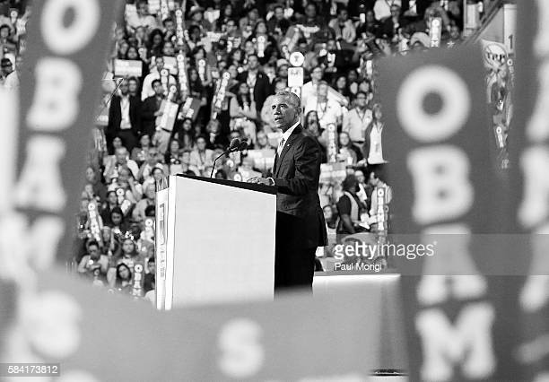 US President Barack Obama delivers remarks on the third day of the Democratic National Convention at the Wells Fargo Center on July 27 2016 in...