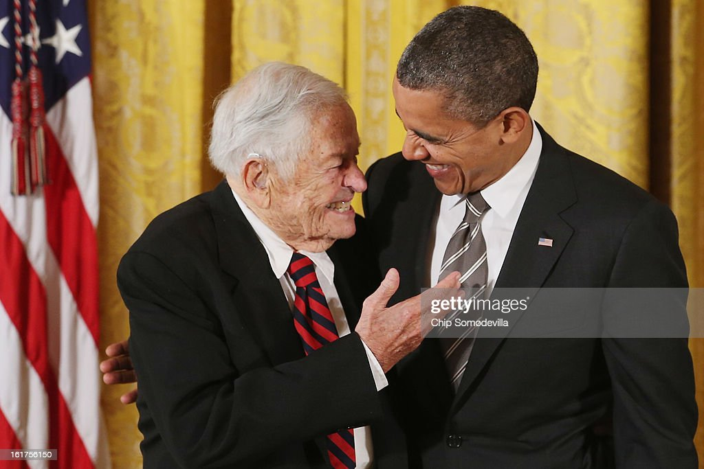 U.S. President Barack Obama delivers remarks presents pioneering pediatrician Dr. Berry Brazelton the 2012 Presidential Citizens Medal, the nation's second-highest civilian honor, in the East Room of the White House February 15, 2013 in Washington, DC. 'Their selflessness and courage inspire us all to look for opportunities to better serve our communities and our country,' Obama said about this year's recepients.