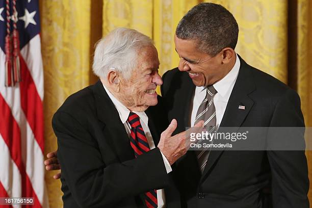 S President Barack Obama delivers remarks presents pioneering pediatrician Dr Berry Brazelton the 2012 Presidential Citizens Medal the nation's...