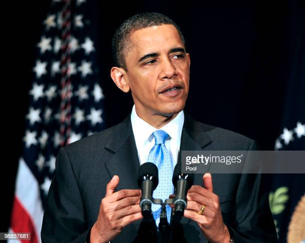 President Barack Obama delivers remarks to the Business Council at the Park Hyatt Hotel May 4, 2010 in Washington, DC. In his remarks the President...
