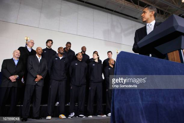 US President Barack Obama delivers remarks while congratulating the 2010 NBA Championship Los Angeles Lakers the Boys and Girls Club at THEARC...